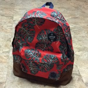 Red Roxy backpack with tropical leaves pattern NWT